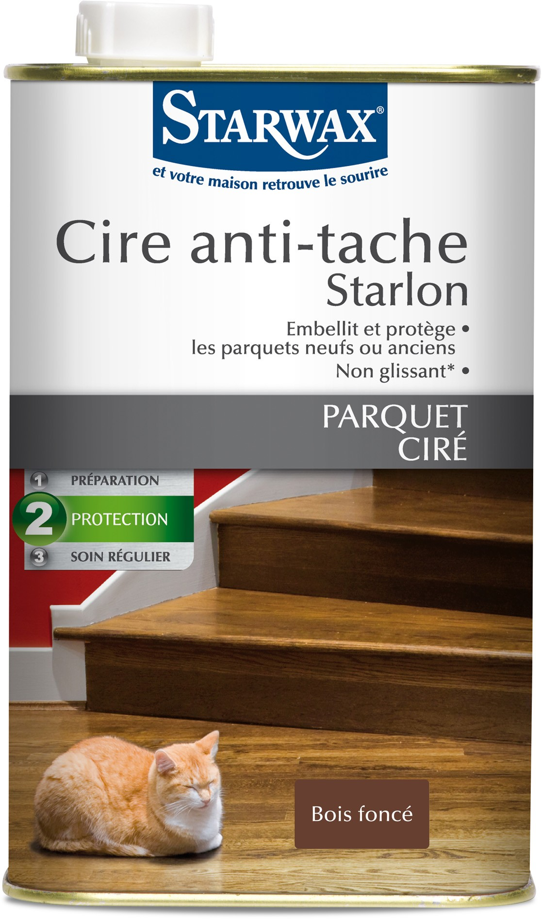 cire anti tache starlon pour parquet cir 1 l bois fonc. Black Bedroom Furniture Sets. Home Design Ideas