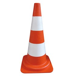 BALISE CONE 2 BANDES BLANCHES 50CM PE