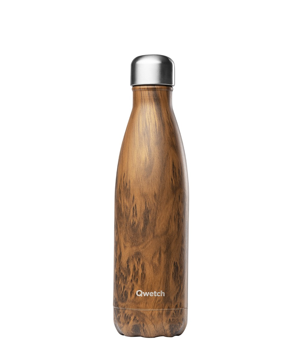 """Bouteille Isotherme """"Wood"""" 500 mL - Qwetch"""