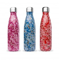 "Bouteille Isotherme ""Flowers"" - Couleurs au Choix - 500 mL - Qwetch"